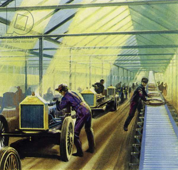 Henry Ford's idea for production line work revolutionised manufacturing (colour litho)