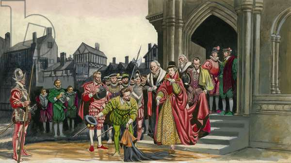 Sir Walter Raleigh lays down his cloak for Queen Elizabeth I