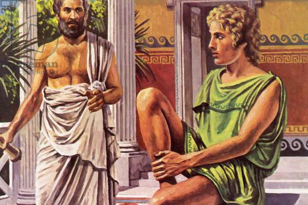 Alexander The Great, with his tutor, Aristotle (colour litho)