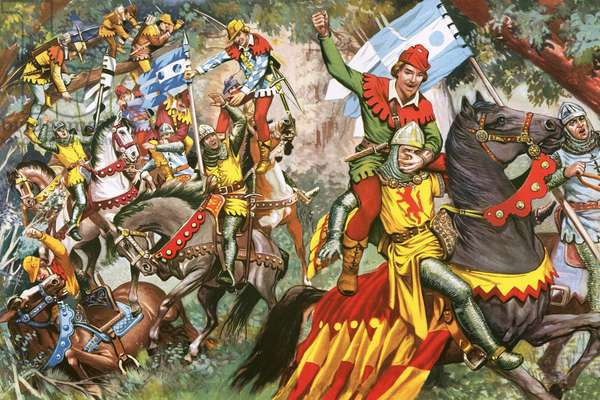 Robin Hood attacking Norman soldiers