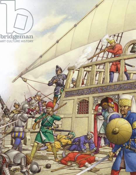 The Knights of St John seized Turkey's finest galleon, the Sultana (gouache on paper)