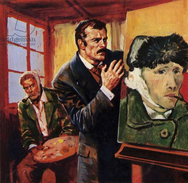 Vincent Van Gogh wounded his own ear - famously painting a portrait of himself in bandages (colour litho)