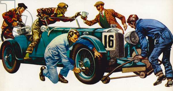 An Aston Martin racing car, vintage 1932, which won many races (litho)