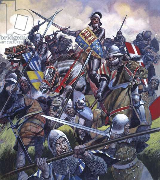 The Battle of Bosworth - Into Battle (gouache on paper)