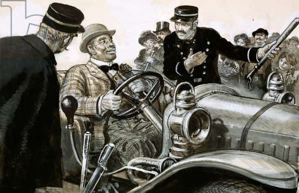 Boxer Jack Johnson at the wheel of a racing car (gouache on paper)