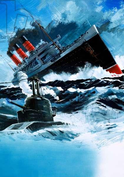 Sinking of the Lusitania (gouache on paper)