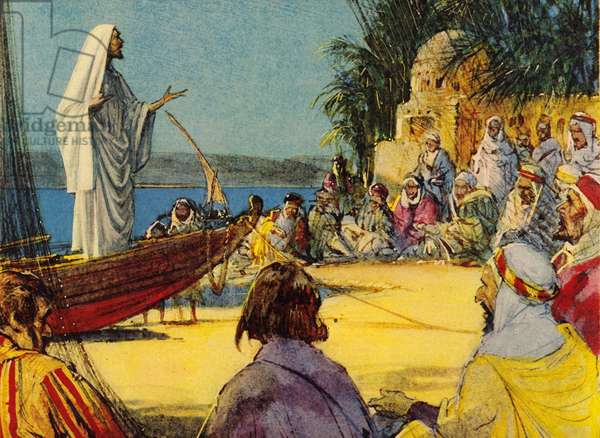 Jesus Christ preaching to the fishermen by the Sea of Galilee (colour litho)