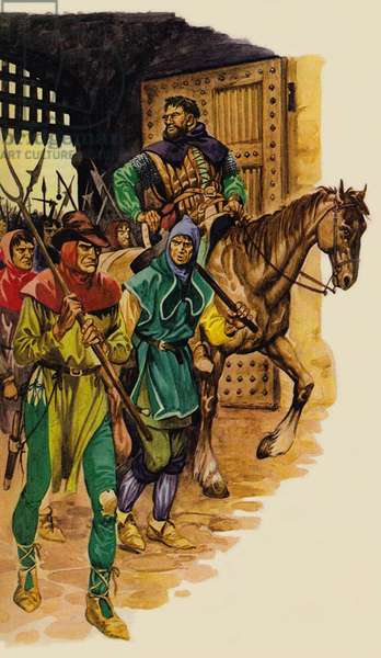 The rabble peasant army, led by Wat Tyler (colour litho)