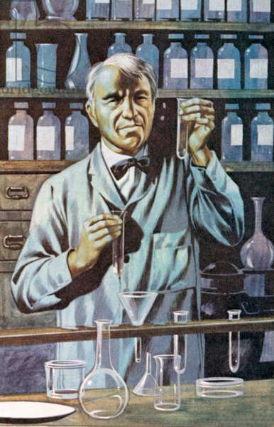 Thomas Alva Edison, American inventor and businessman (colour litho)