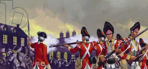 The Boston Massacre, Massachusetts, 5 March 1770 (gouache on paper)