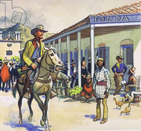 La Fonda, Santa Fe (gouache on paper)