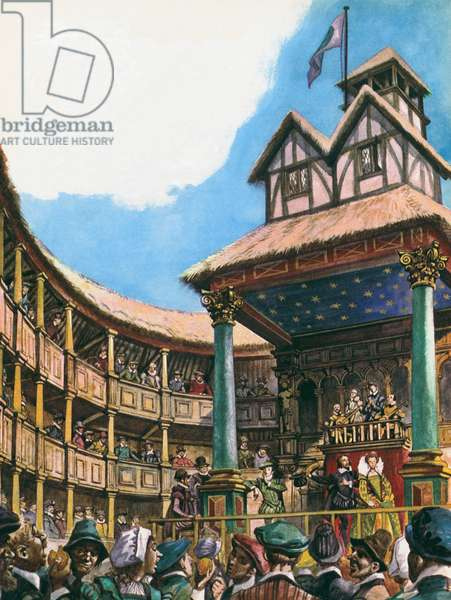 Theatre in London at the time of Queen Elizabeth I (colour litho)