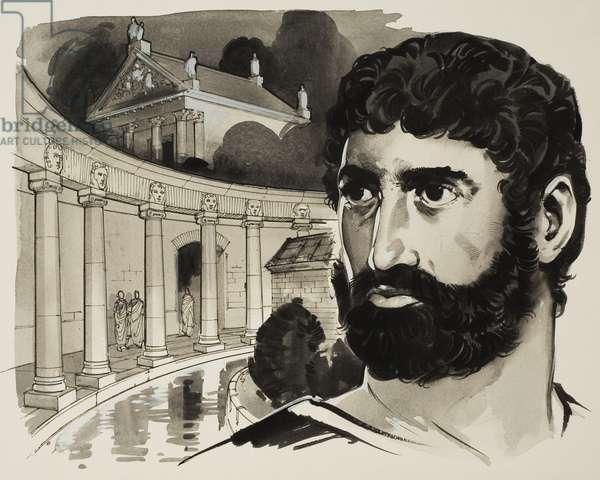 Hadrian's (2nd century) Villa at Tivoli (gouache on paper)