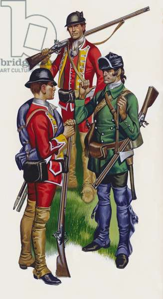 The frontiersmen who has spent years fighting the Indians trained the British (gouache on paper)