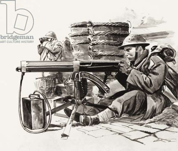 British machine gunner waiting for the Germans outside Dunkirk (gouache on paper)