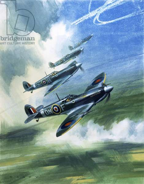 Patrolling flight of 416 Squadron, Royal Canadian Air Force, Spitfire Mark 9s (gouache on paper)