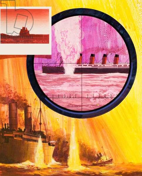 The sinking of the Lusitania (gouache on paper)