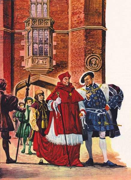 Cardinal Wolsey and King Henry VIII at Hampton Court (colour litho)