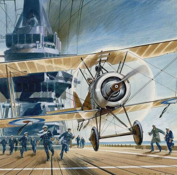 The First Deck Landing (gouache on paper)