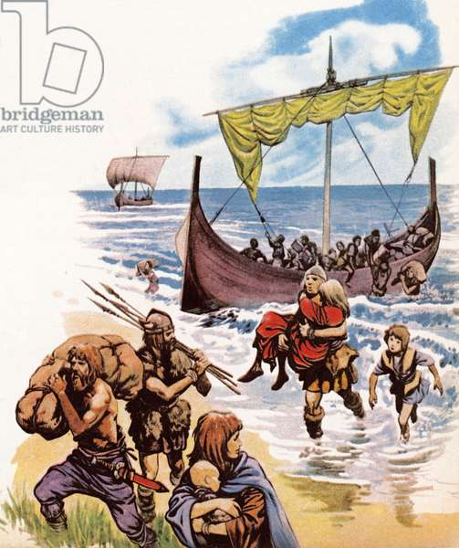 Saxons arriving in Britain in the long-boats from Germany (colour litho)