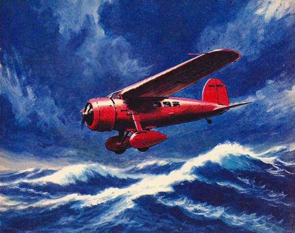 Amelia Earhart crossing the Atlantic in her Lockheed Vega (litho)