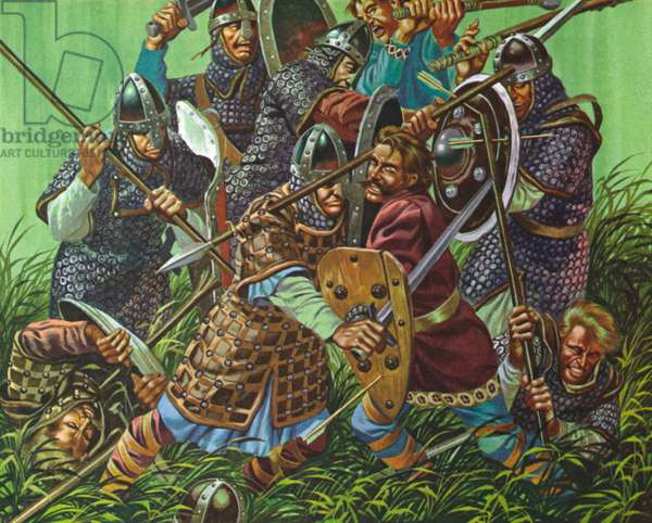 The Battle Of Hastings, 1066 AD, fought with spears, swords and axes (colour litho)