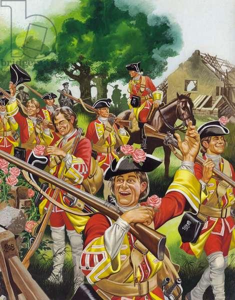 The Battle Of Minden, 1759 (gouache on paper)