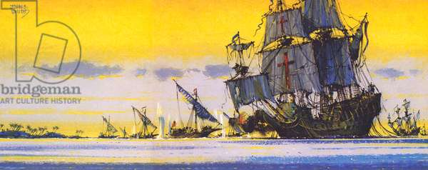 The first Sao Raphael, Vasco Da Gama's ship, fighting off Arab galley (colour litho)