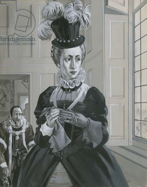 Queen Elizabeth I, hearing news of the execution of Mary Queen of Scots (gouache on paper)