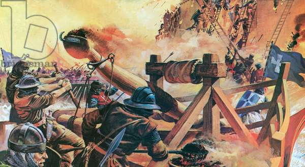 The Christians besieging Constantinople in 1203 (colour litho)