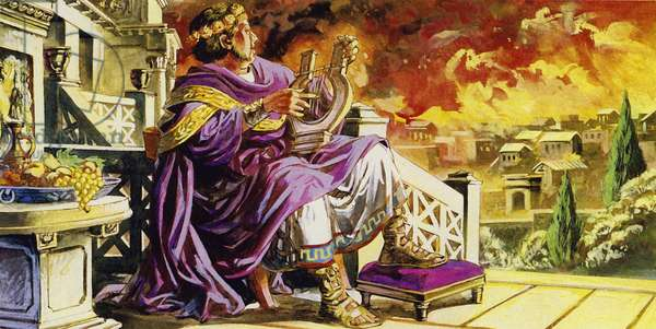 As Rome burned, Nero sat on his balcony composing a poem (colour litho)