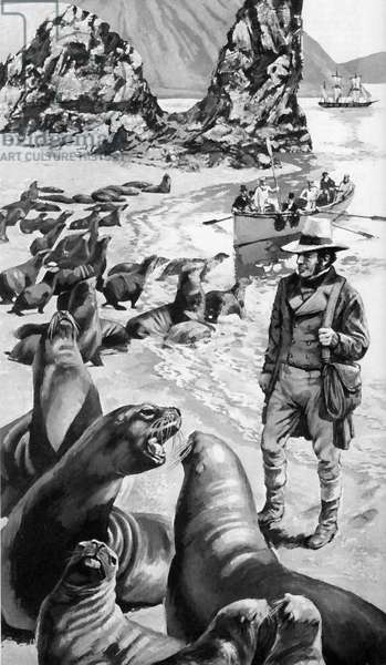 Charles Darwin on the Galapagos Islands (litho)