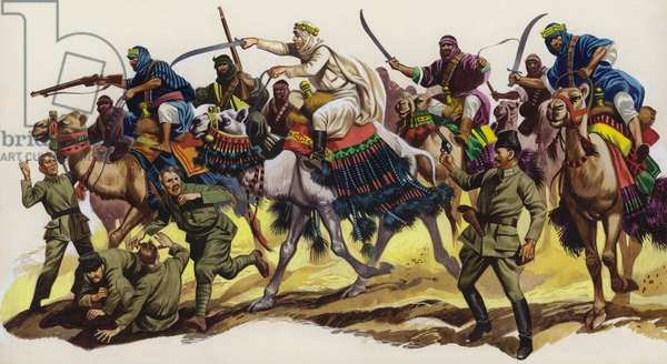 T E Lawrence leading an Arab attack (gouache on paper)