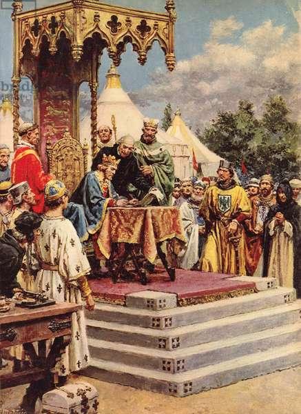 King John signing Magna Carta (colour litho)