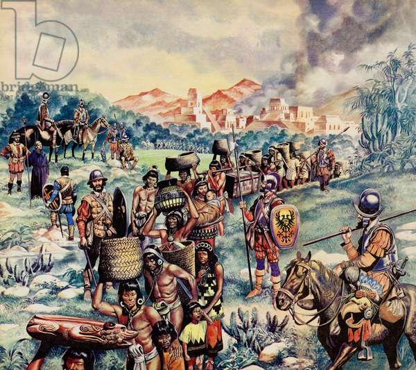 The Spanish Conquest of Mexico (colour litho)
