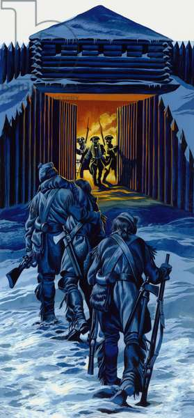 The three Rangers, almost dead, staggered into Fort William Henry to bring her to their comrades (gouache on paper)