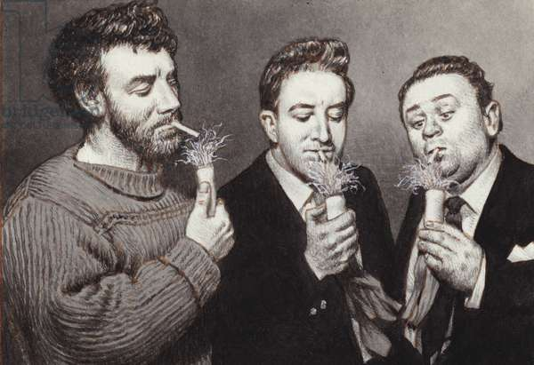 The Goons: Spike Milligan, Peter Sellers, Harry Secombe (gouache on paper)