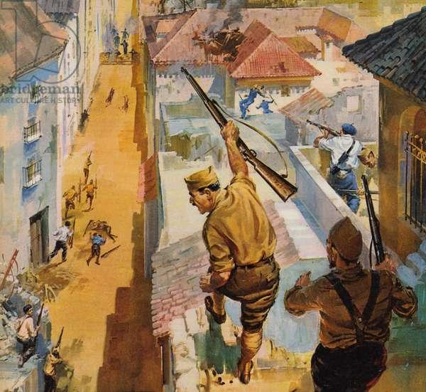 Spanish Civil War (colour litho)