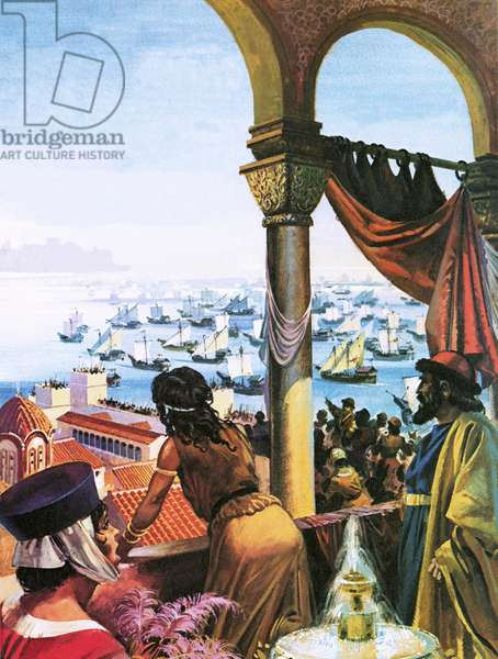 Fleet of the Fourth Crusade arriving in Constantinople in 1203