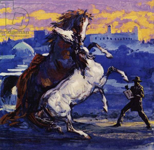 Delacroix saw two wild stallions fighting and, heedless of the risk, sketched the scene (colour litho)
