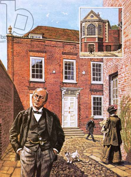 Henry James standing outside Lamb House in Sussex