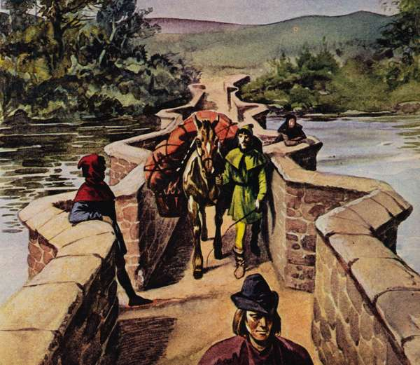 Narrow bridge in the Middle Ages (colour litho)