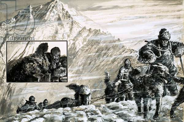 The Antarctic expedition of Mills Joyce in 1915 (gouache on paper)