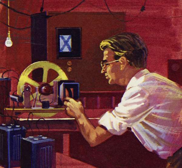 Baird began to experiment in wireless transmission of pictures (colour litho)