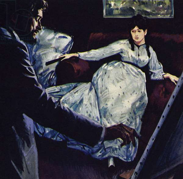 Manet painting the picture Repose (colour litho)