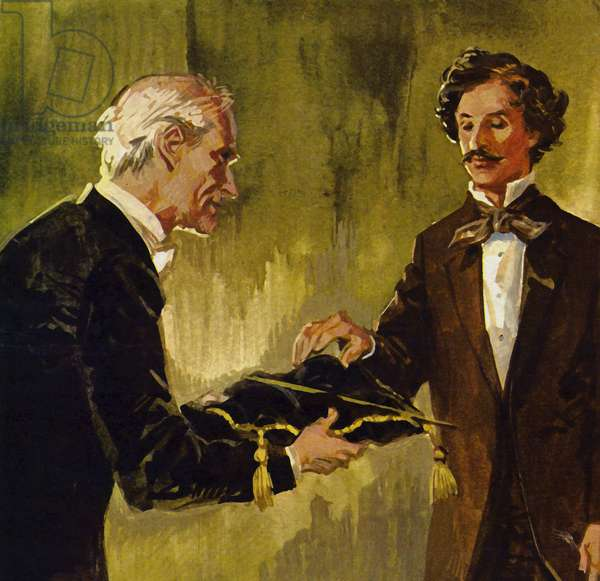 Strauss was presented with his father's baton by the lead violinist of his orchestra (colour litho)