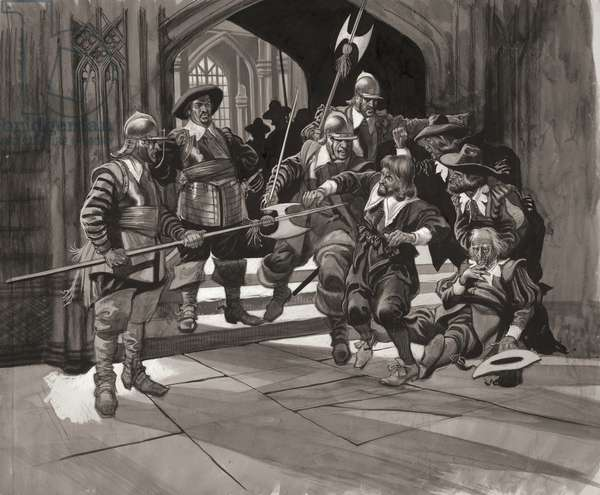 Colonel Pride refusing entrance of certain members of the House of Commons (gouache on paper)