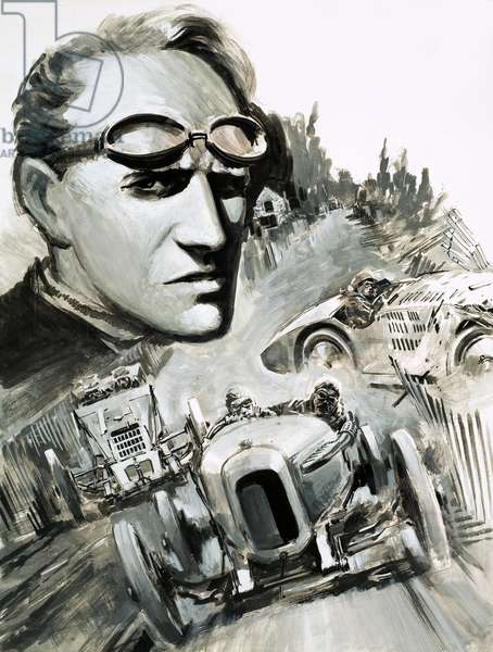 Henry Segrave was the first man to break the 200mph barrier (gouache on paper)