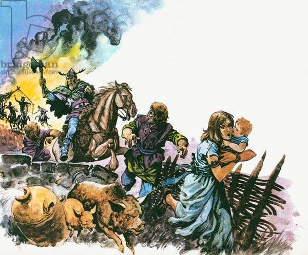 The Saxon raiders drove out the Britons (colour litho)