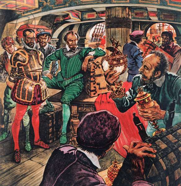 Sir Francis Drake in his cabin (colour litho)